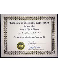 Certificate of Appreciation presented to Ron & Carol Jones
